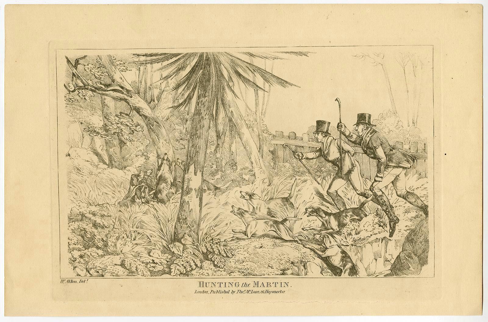 antique print hunting the martin marten dogs alken 1840
