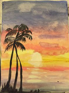 my watercolor painting of a sunset at the beach a h a drawing competitions