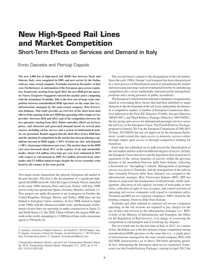 pdf new high speed rail lines and market competition