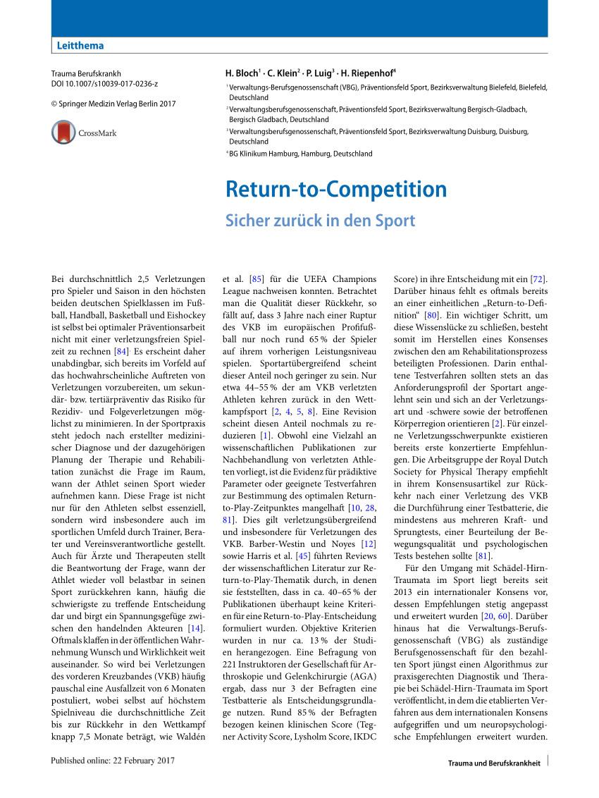 pdf return to competition sicher zuruck in den sport