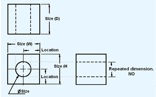 every solid has three dimensions each of the geometric shapes making up the object must have its height width and depth indicated in the dimensioning