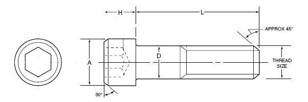 socket head cap screw dimensions socket head drawing