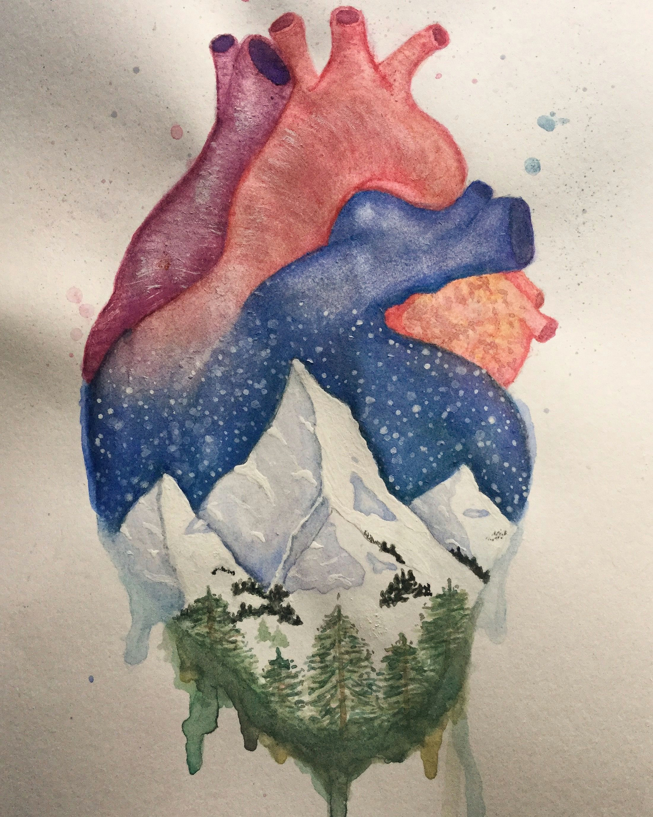 Heart Drawing Watercolor Anatomical Heart and Winter Mountain Landscape Watercolor Painting