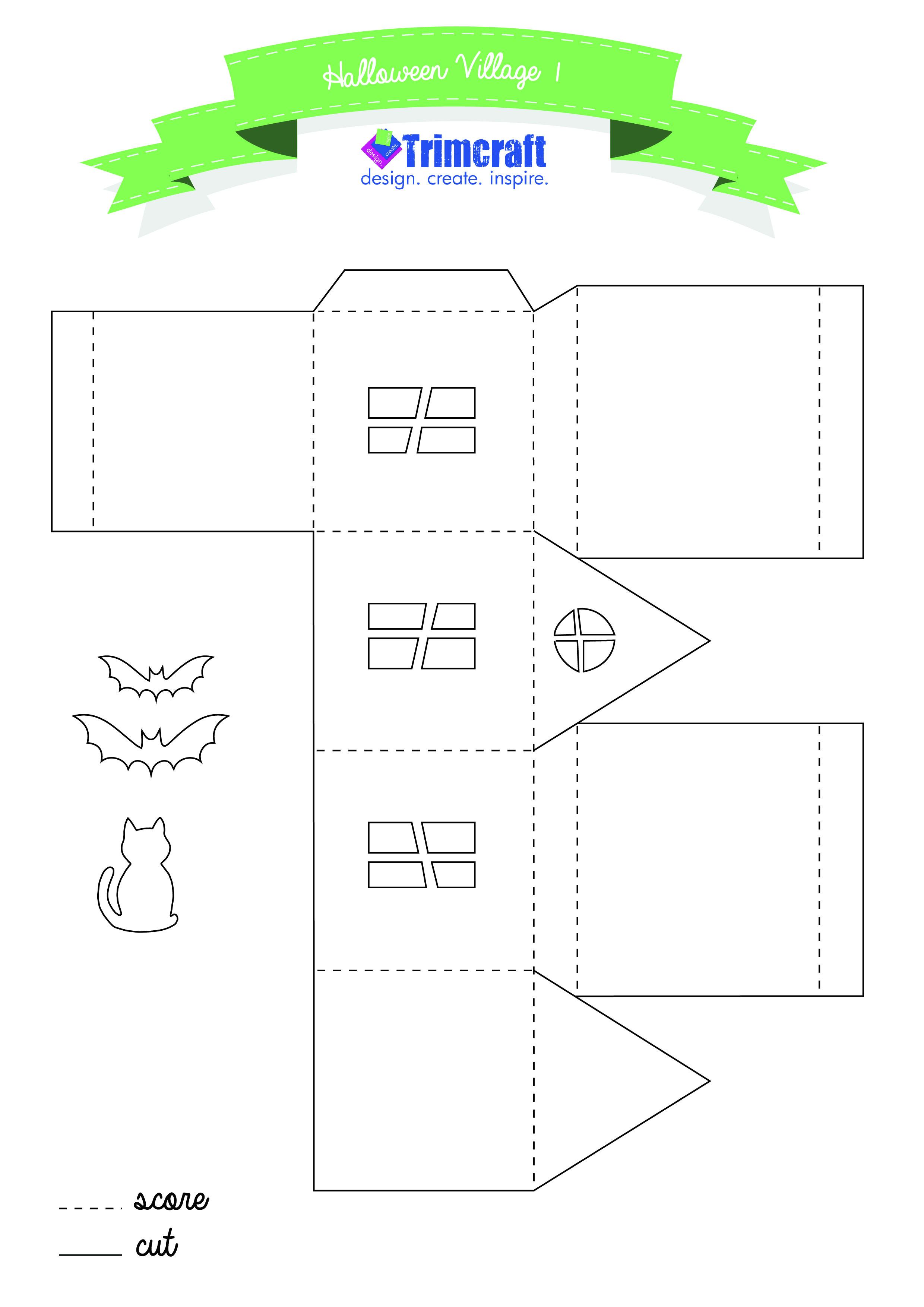 3d haunted halloween houses tutorial and free printable template http www trimcraft