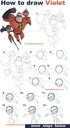 how to draw violet from the incredibles part 3 of drawing the incredibles 2 family easy step by step