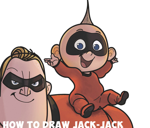 how to draw jack jack the baby from the incredibles part 2 of drawing the incredibles 2 family easy step by step