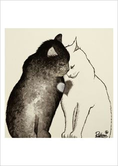 two cats one heart by raphaelvavasseur on etsy i love cats cute cats cat