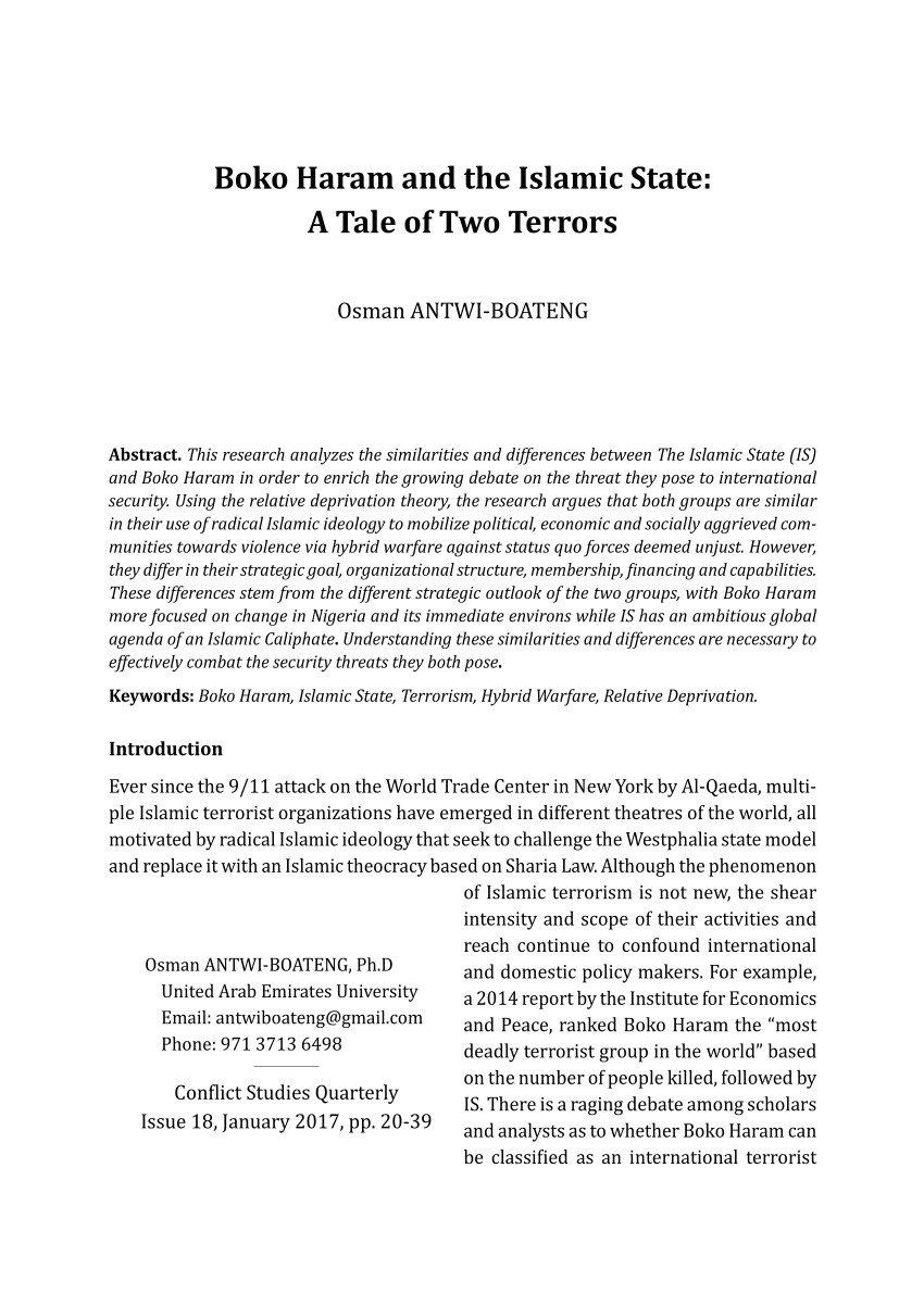 pdf boko haram and the islamic state a tale of two terrors