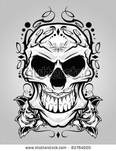 vector illustration decorative skull head
