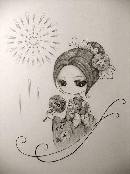 japanese drawings pencil art pencil drawings cute drawings geisha drawing summer