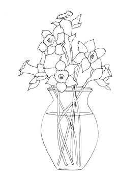 daffodils in vase pattern for painting crafts embroidery clipart appliques scrapbooking and more