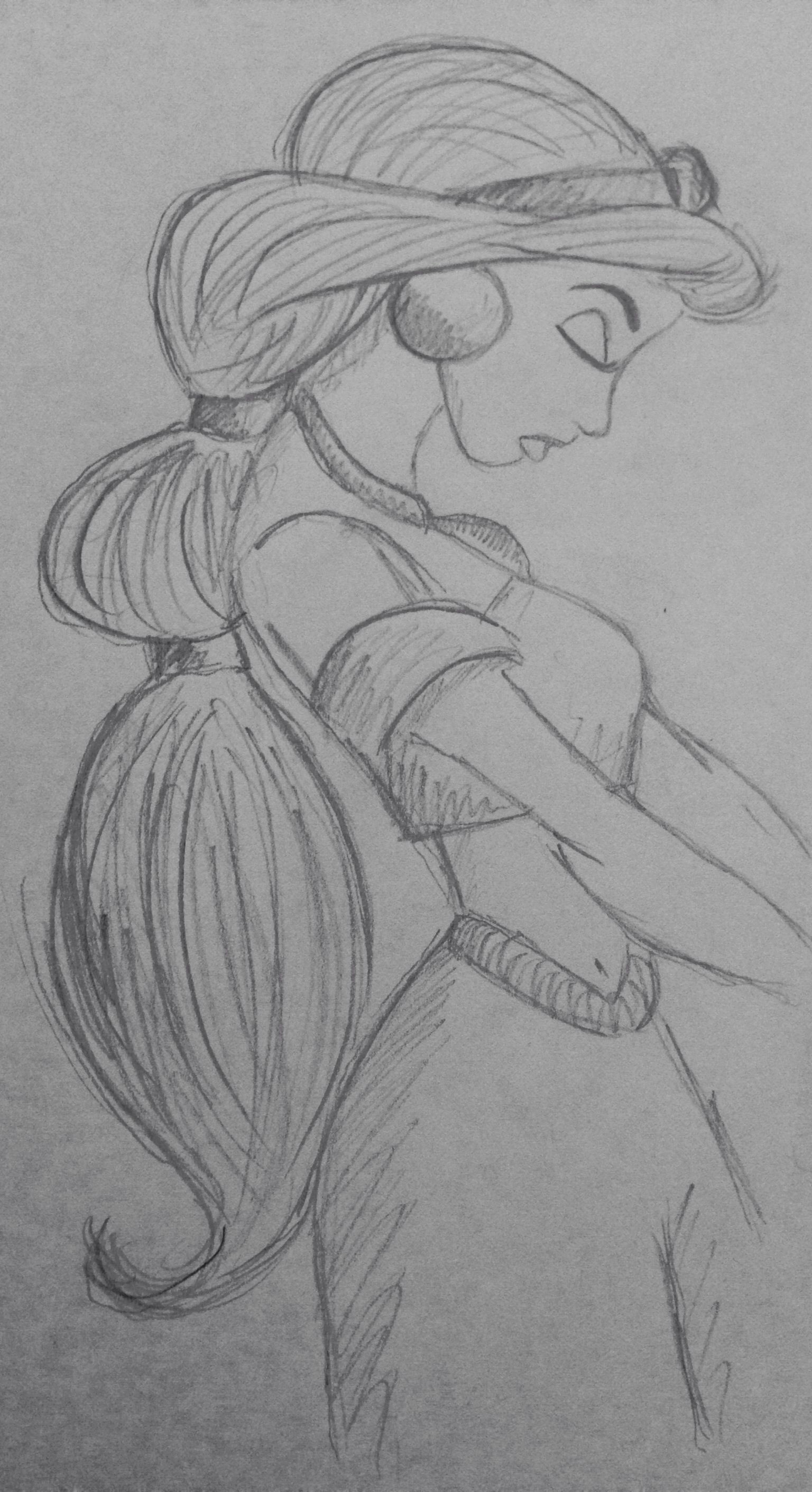 princess jasmine aladdin disney pencil sketch