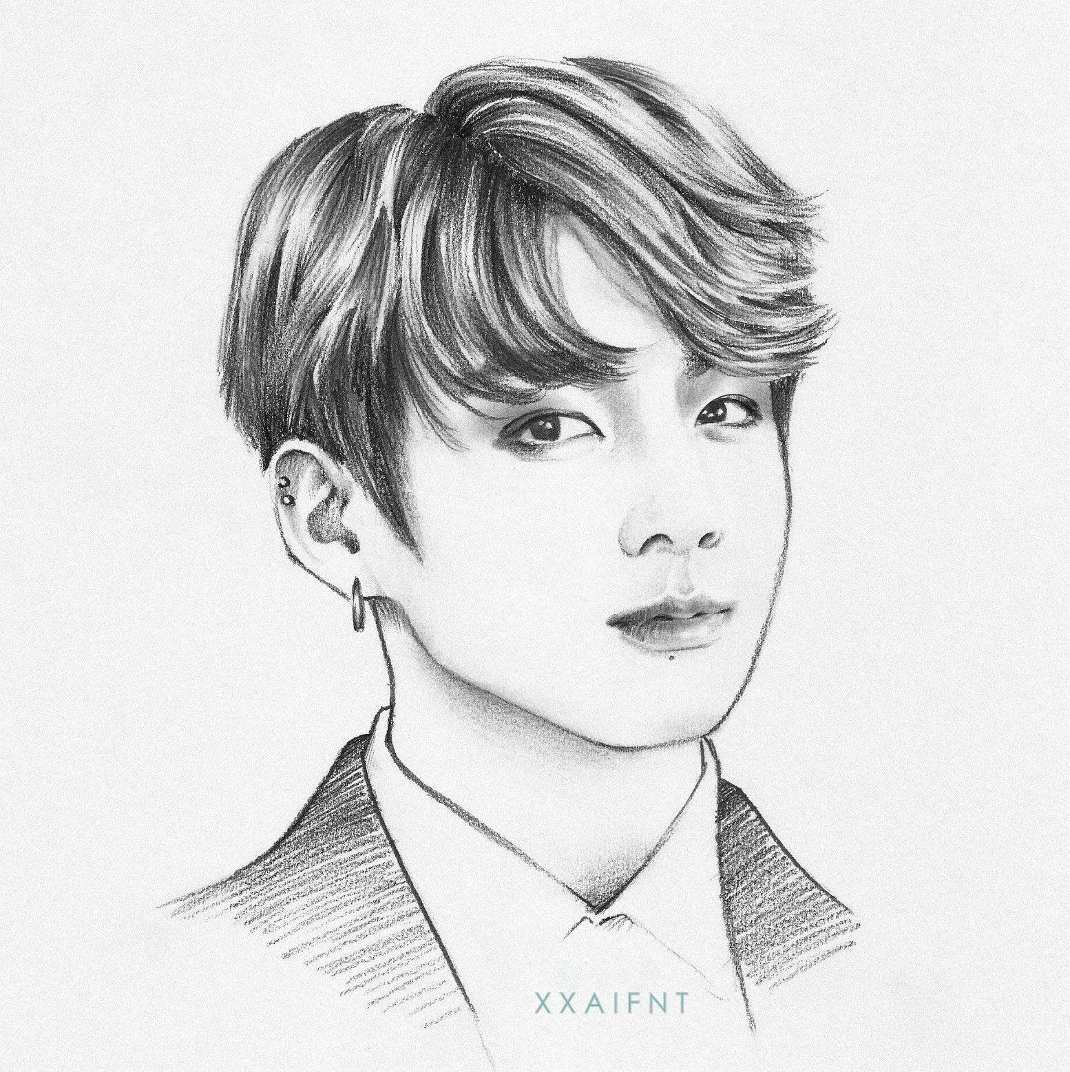 jeon jungkook fanart drawing sketch traditional art