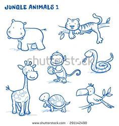 cute cartoon jungle safari animals hippo tiger giraffe monkey snake tortoise bird toucan hand drawn doodle vector illustration