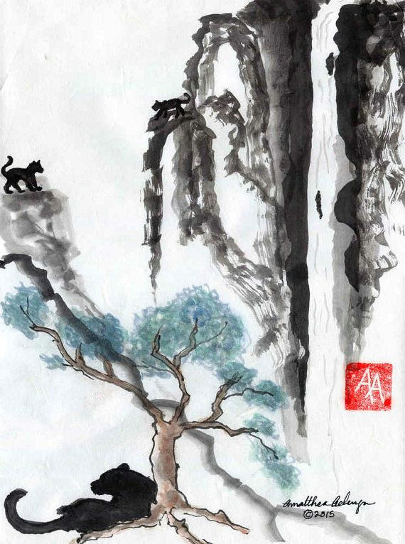 jaguar jungle original sumi e or chinese brush painting by aelwyn studios this