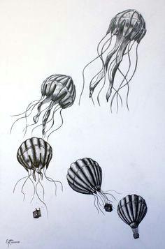 hot air balloon transformed into a jellyfish amazing jellyfish drawing jellyfish