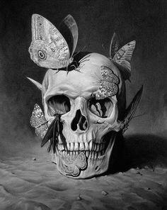 butterflies on skull drawing collage crane sculpture saatchi art skull and bones
