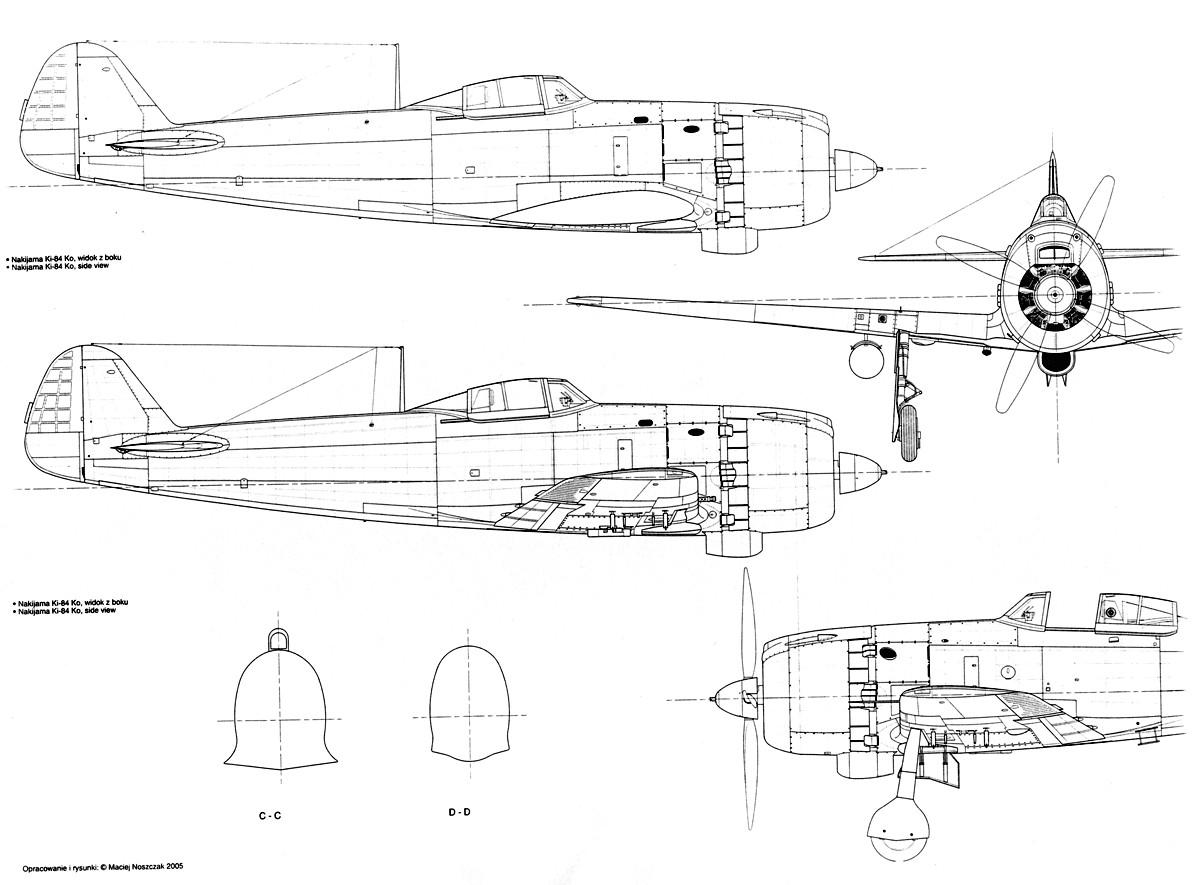 artwork nakajima ki 84 hayate hei technical drawing 1 32 scale 0d