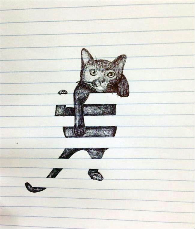 gato papel pautado drawings on lined paper 3d drawings awesome drawings space drawings