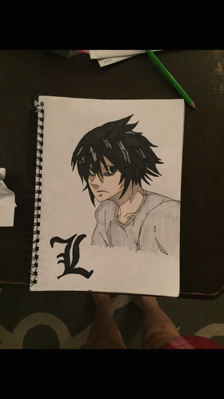 L Cartoon Drawings L From Death Note Drawings In 2018 Pinterest Anime Art Death