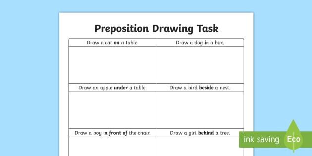 preposition drawing task worksheet worksheet preposition resources irish worksheet