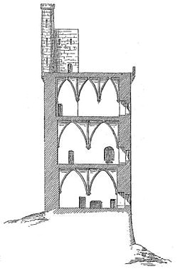 a cross section of the tower looking north the structure has an overall height of 39 m 128 ft