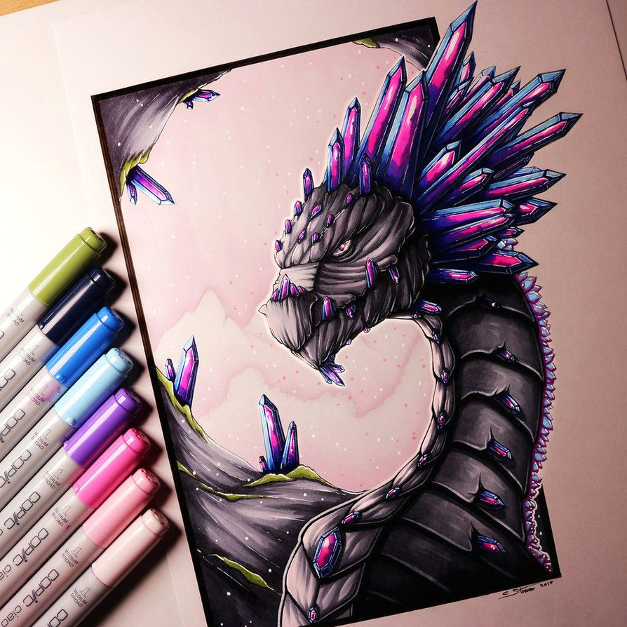 gemstone dragon drawing by lethalchris