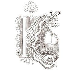 monogram k initial colour me in illuminated letters original art drawings by melanie j cook
