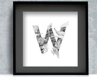 monogram letter print w digital download monogram poster letter w print flourish type line draw art wall decor printable w letter