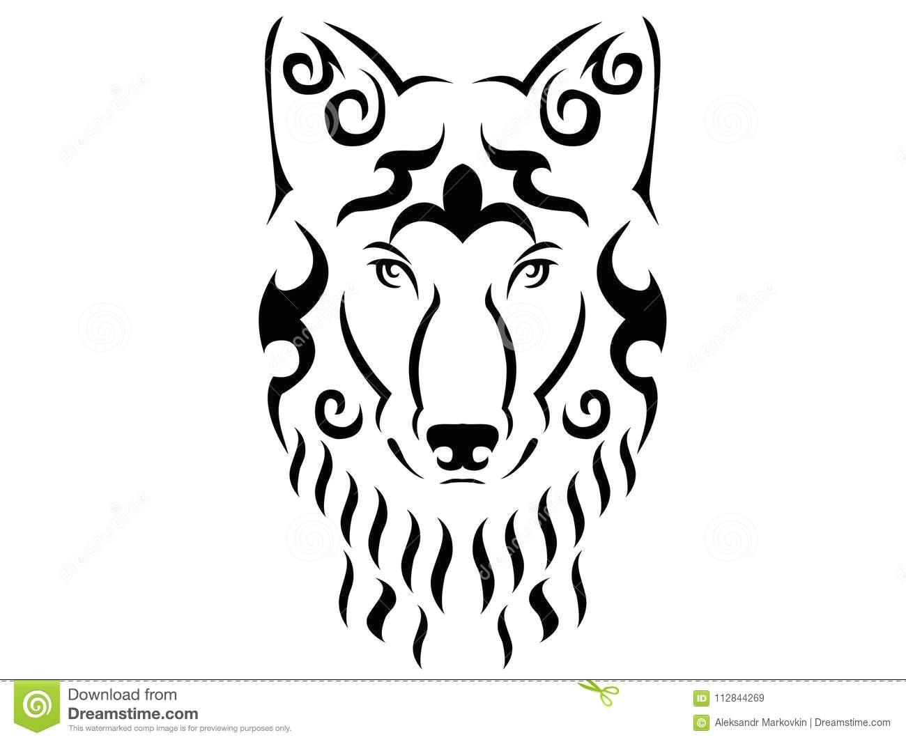 tribal wolf illustration