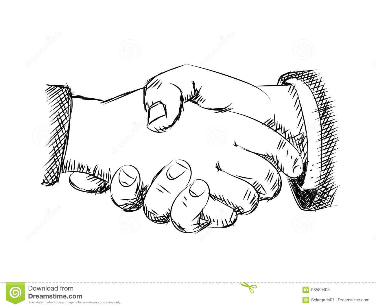hand drawn sketch of handshaking vector illustration