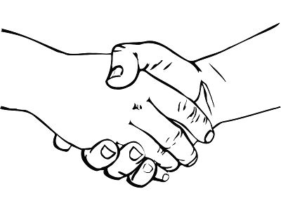 shaking hands drawing clipart
