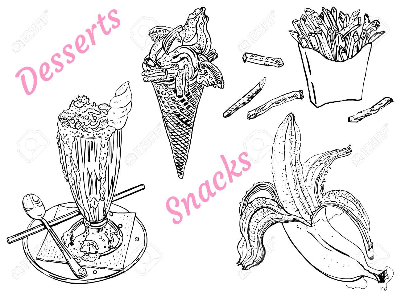 snacks and desserts milk shake ice cream banana french fries line