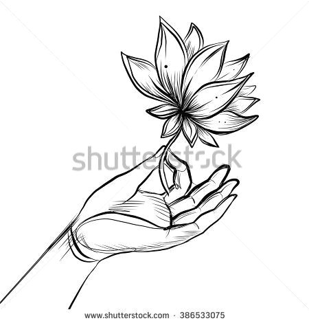 lord buddha s hand holding lotus flower isolated vector illustration of mudra hindu motifs tattoo yoga spirituality textiles