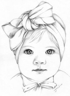 etsy shop custom pencil portrait drawing from photo baby girl portrait https