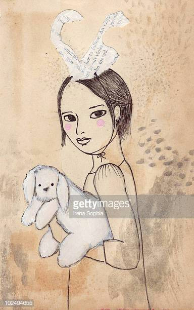 an ink drawing of a young girl holding a bunny and wearin rabbit ears