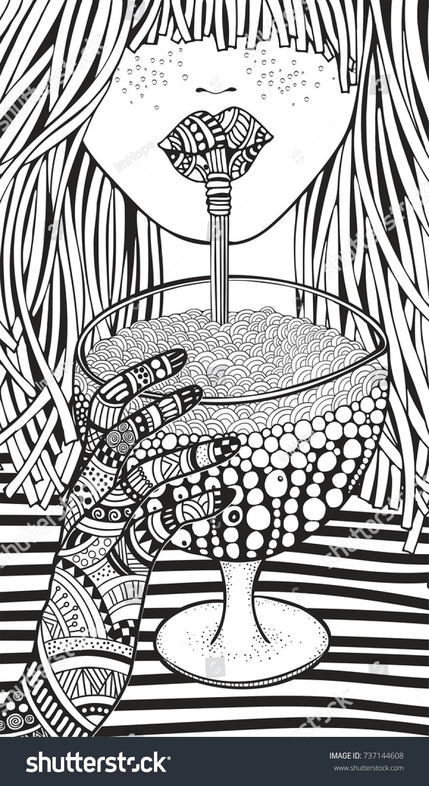 Little Girl Drawing Vine Cute Girl Drinking Wine or Lemonade Adult Coloring Book Page Young