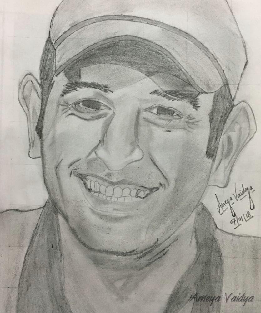 ms dhoni pencil sketch