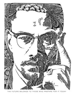 illustrations by freddie denton via behance illustration of malcolm x painting lessons easy