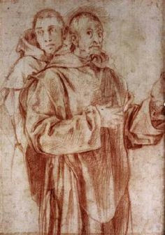 two carthusian monks jacopo pontormo 1525 red chalk drawing 284 x 202