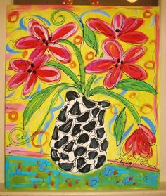 funky flowers painting any colors made to order by yellikelli 75 00 pablo picasso flower