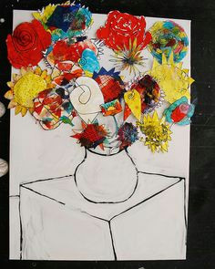 vase of flowers inspired by galla serifin each child creates a large painting or collage of a flower head based on an observational drawing arrange