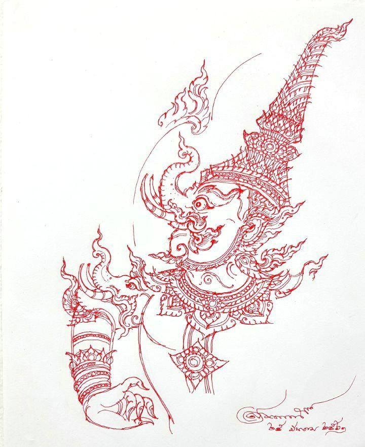 thai design thai tattoo drawing sketches drawings buddhist art ancient art