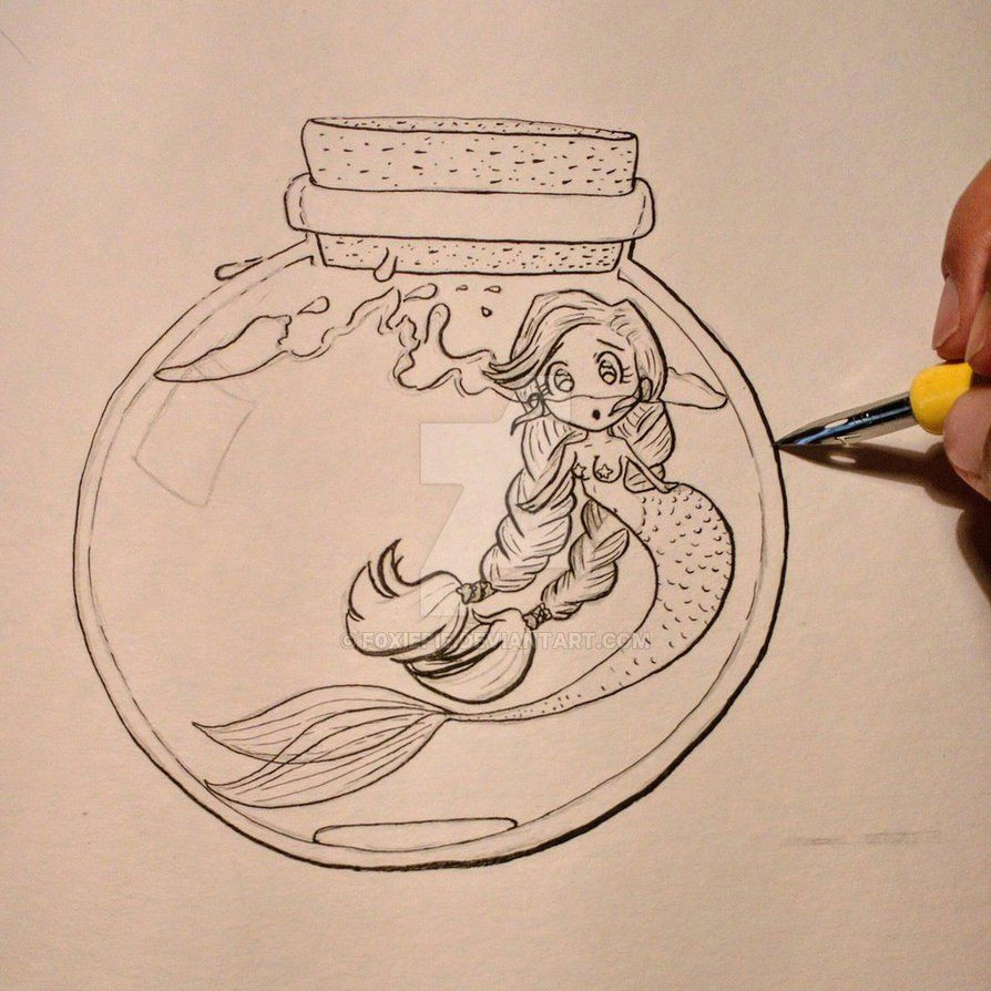 mermaid in the bottle outlined sketch with ink