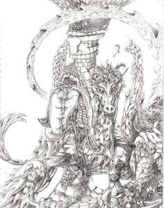 ink drawing ink pen art framed wall art faeries dragons art drawings