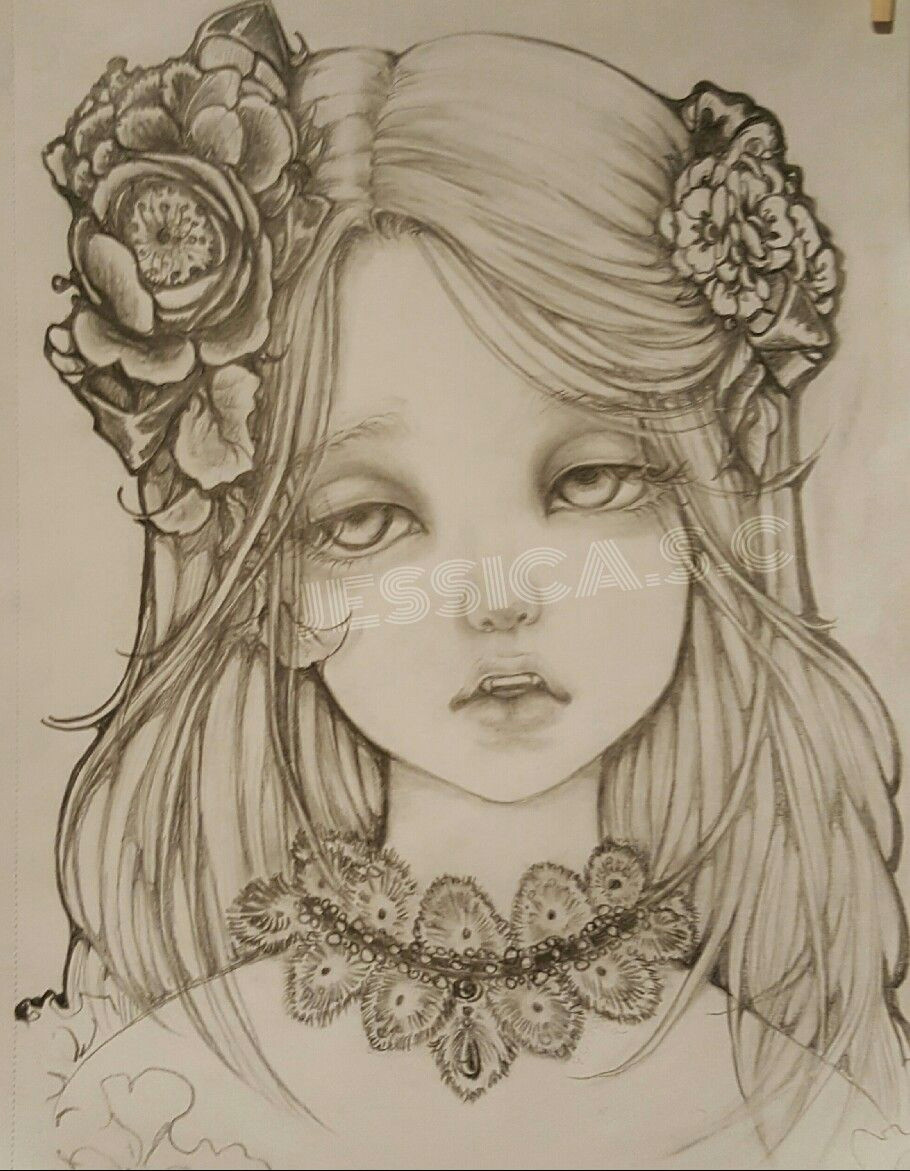 pencil drawingoftheday beautiful vampire girl dramatic eyes detail hair drawing flower hair corsages more