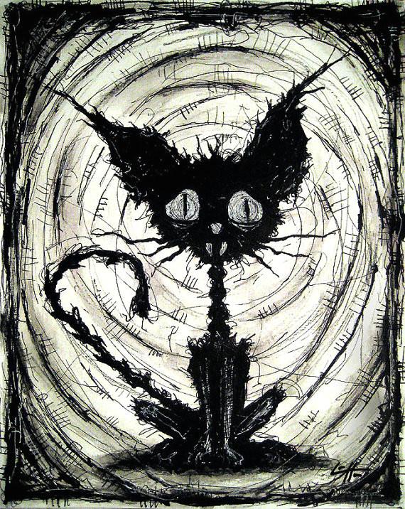 print 8x10 black cat 2 halloween cats stray spooky alley dark art pets cute animal creepy gothic art black and white kitty via etsy