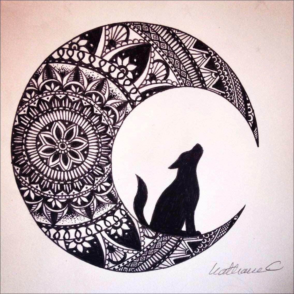 bilder zum nachmalen einfach abbild wolf in the moon black ink mandala drawing brusho
