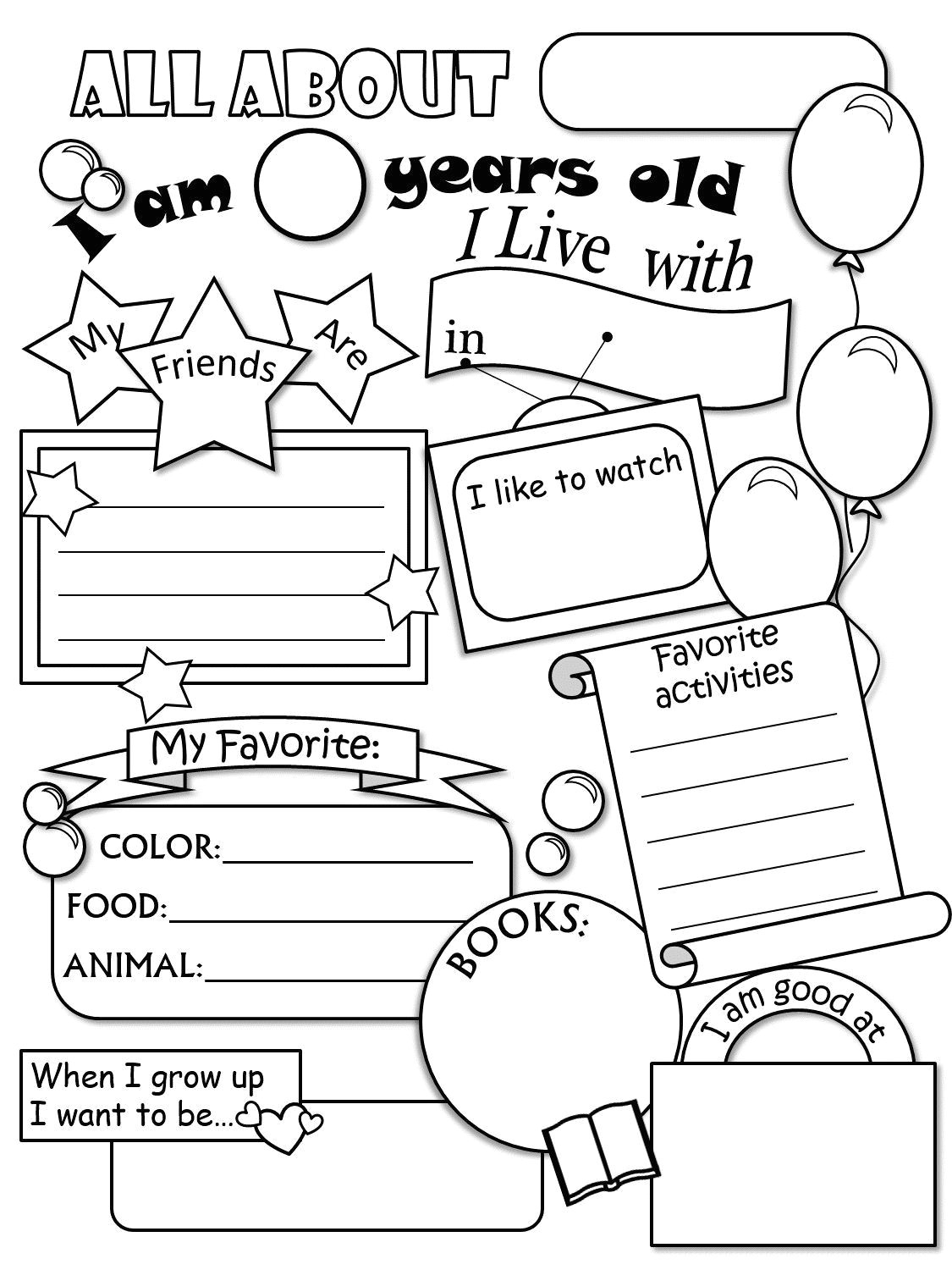 Pre K Drawing Worksheets All About Me Worksheet Freebie Cute Language Arts All About