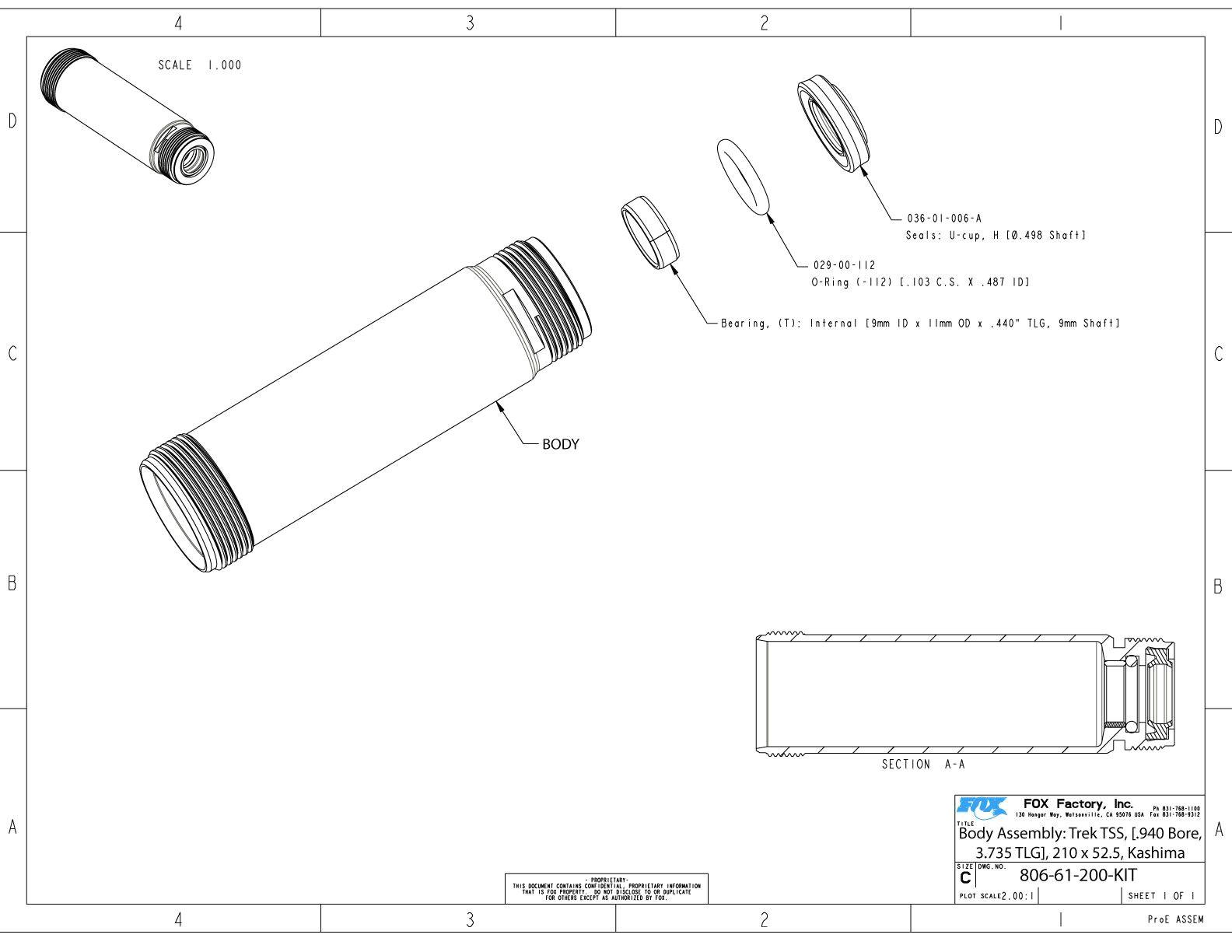 806 61 200 kit body assembly trek tss 940 bore 3 735 tlg 210 x 52 5 kashima